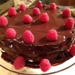 Triple chocolate raspberry cake