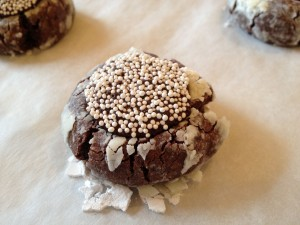 Chocolate Thumbprint Crinkles with Non-Pareils