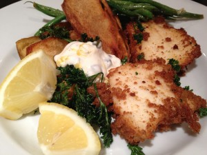 Halibut & Chips with Caper Tartar Sauce